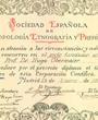 Gründungs-Mitglied der »Sociedad Española de Antropología, Etnografía y Prehistoria«, Madrid, Spanien. (38,6 cm x 30,7 cm)