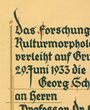 Verleihung der Georg Schweinfurth-Plakette des »Forschungsinstituts für Kulturmorphologie, e. V. zu Frankfurt/M.«, Frankfurt/Main, Deutschland. (33,5 cm x 49,3 cm)