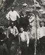 Excavation at El Castillo, probably 1913-1914. First row from left to right: Alejandro Mena Garay,  Paul Wernert,  Hugo Obermaier (with courtesy of Alejandro Mena Campuzano).