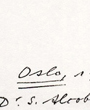 Verso: al Prof. Obermaier, en recuerdo de nuestra excursión a Holmenkollen. Oslo, agosto 1936. SantiagoAlcobé. (von H.O. geschrieben: Oslo 1936, Dr. S. Alcobé)Verbleib: Archiv der Hugo Obermaier-Gesellschaft, Erlangen.